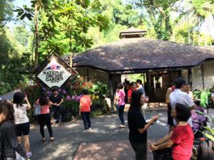 写真:入り口で賑わう観光客