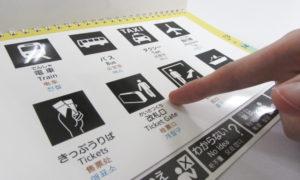 写真:コミュニケーション支援ボードを指さす様子