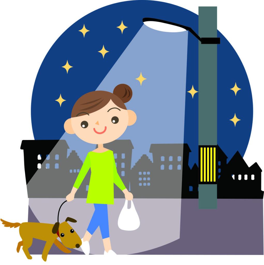 これはイラストです。街灯に照らされた夜道を女性と犬が散歩しています。