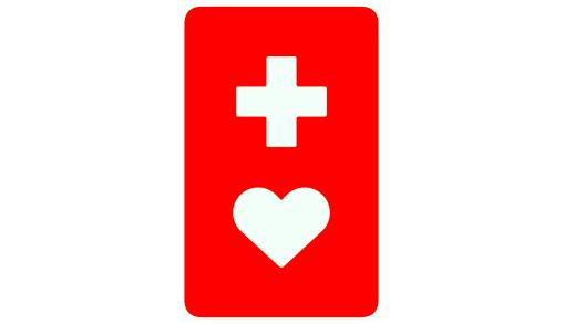 マーク:赤い背景に白い十字とハートの形
