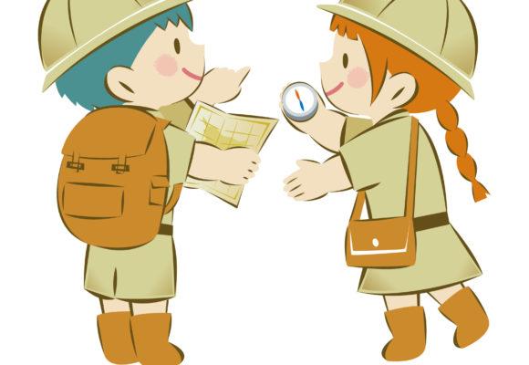 二人の子どもが探検をしているイラスト