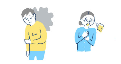 イラスト:だるい男性と咳をする女性