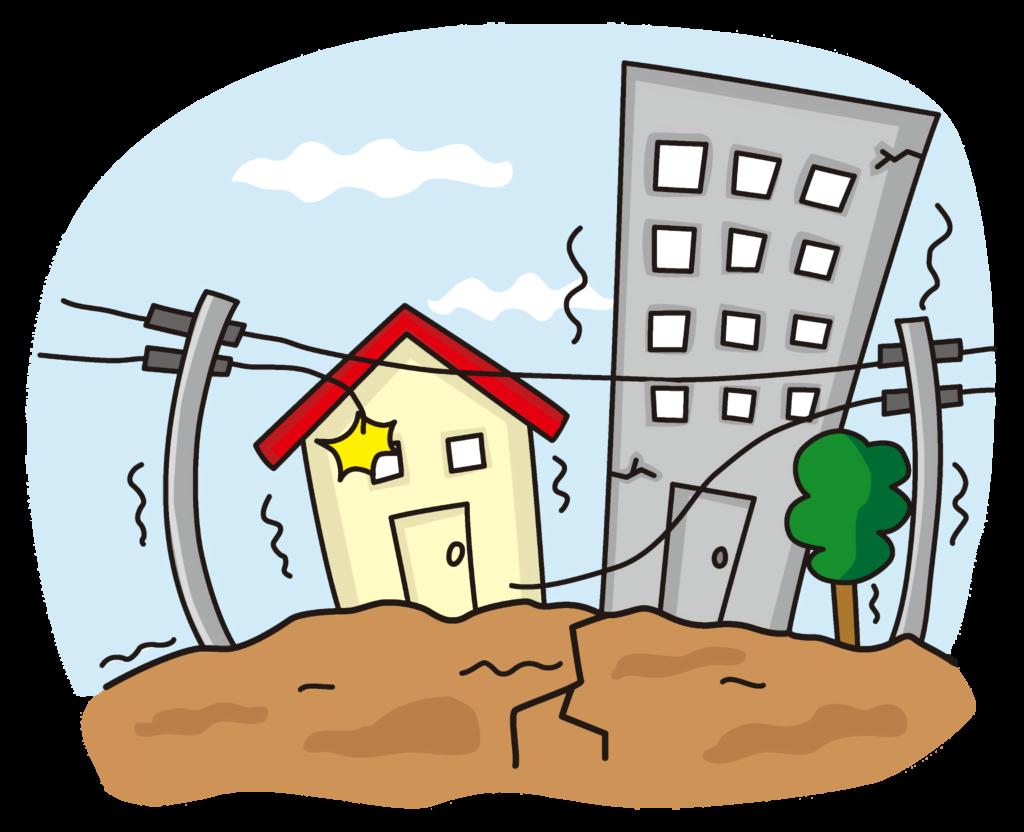 これはイラストです。大地震によって街中にある建物2棟の外壁に亀裂が入り、電柱の電線が断線されています。