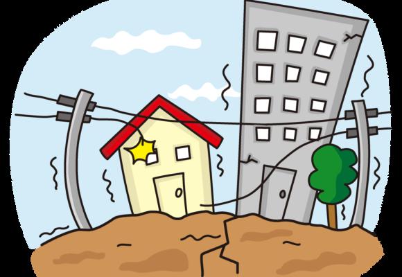 これはイラストです。大地震によって町中にある2棟の建物や地面に亀裂が入り、電柱の電線も断線されています。